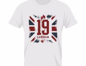 מספר 19 מודפס על חולצה לבנה עם רקע אנגליה
