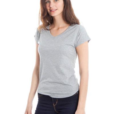 חולצת צווארון וי אפורה לנשים
